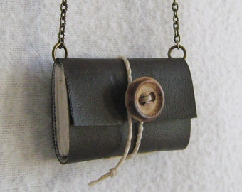 Miniature Book Necklace Dark Brown Vegan / Book Pendant / Recycled Booklace by PrairiePeasant