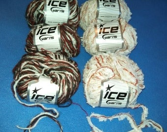 Christmas Multi-Strand Yarn by Ice Yarns, three skeins of novelty yarn mixed fiber yarn