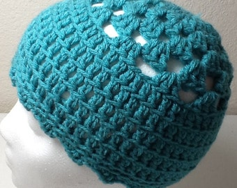 Hand Crochet Hat Turquoise Sized Child to Adult