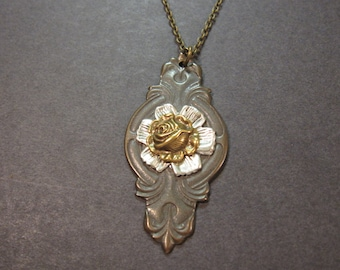 Victorian Rose Necklace, Gothic Jewelry, Goth, Woodland Necklace,  Antique Brass Rose, OOAK, One Of A Kind, Unique Necklace, Long Necklace