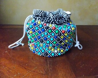 Vintage Beaded Drawstring Handbag or Pouch