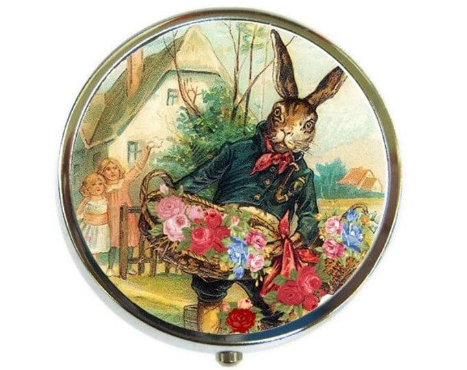 Flower vendor rabbit Pill Box Stash Case Silver Medicine Case