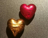 CLEARANCE !!! Chocolate Cherry Red and Brown Italian Foil Heart Beads ... 2ct.