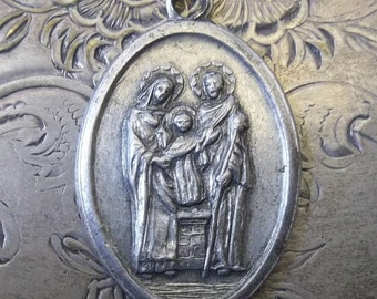 Vintage Italian Religious Medal Holy Family The Blessed Virgin Mary, Saint Joseph, Child Jesus & Blooming Flowers