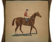 Horse & Jockey Facing Right Cushion Cover Sham