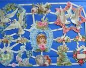 New Victorian  Paper Scrap Love Doves Roses Flowers Lovebirds