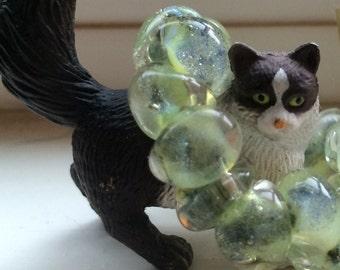 10 Seafoam Green Teardrop Handmade Lampwork Beads - 10mm (21869)