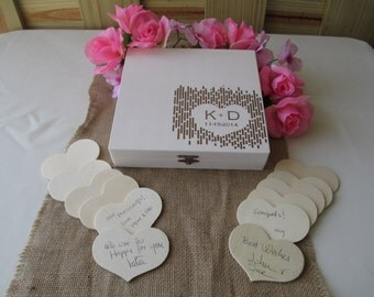 Wedding Guest Book Alternative Engraved Rustic Wedding Wood Box Personalized Set for 50 guests - Item 1652