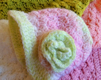 New BABY PATTERN! Susan's Baby Shell Stitch Hat and Rose - Fast and Easy Crochet Pattern Instant Download