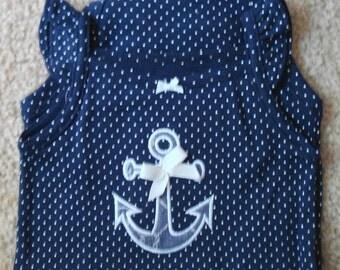 Baby Onesie Nutical Anchor on Dark Blue and white dot bodysuit