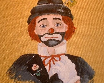 Felix the Clown Original painting reduced price, free shipping in USA