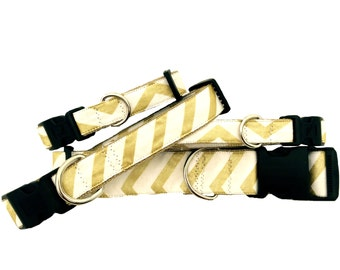 Dog Collar - Gold Glitter Small & Large Sizes All Breeds - 'Glam Gold Chevron'