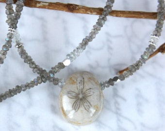 Fossil Urchin Necklace - Sea Urchin with Sapphires and Labradorite in Solid Sterling Silver