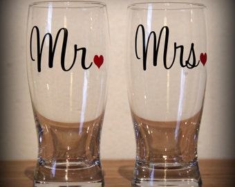 mr and mrs beer glasses...  perfect gift for the newly engaged couple or for the wedding toast!