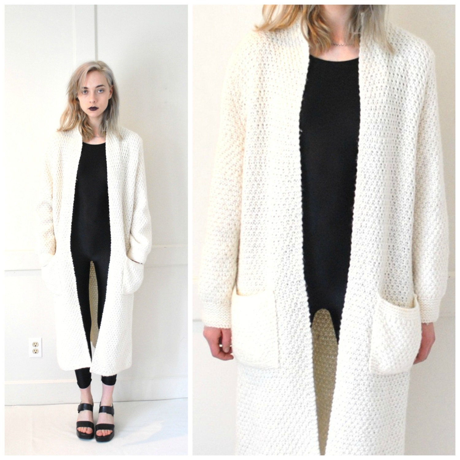 long white KNIT duster cardigan vintage 70s 80s MINIMAL cozy
