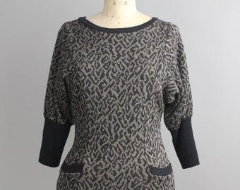 Vintage Animal Print Knit Dress | Leopard Print Sweater Dress | 1980s Wiggle Dress | XS-S