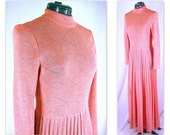 Vintage 1970's Salmon and Silver Prom Party Dress, Modern Size 6, Small