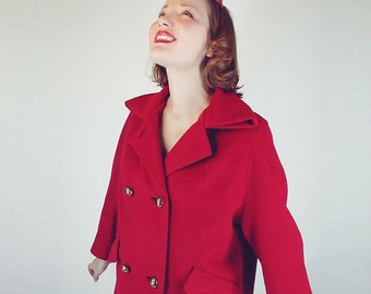 60s Vintage Cherry Red Ribbed Wool Double Breasted Coat L