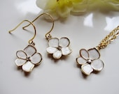 White Necklace Earring Set Gold - White Flower Wedding Jewelry, White Bridesmaid Jewelry - Bridal Jewelry - Gift for Her
