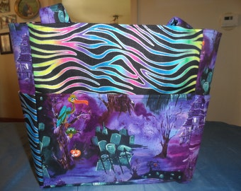 halloween zebra grave purple yard bag/purse/ diaper bag