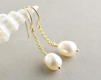 Pearl Chain Earrings, White Pearl Earrings, June Birthstone, Dangle Earrings