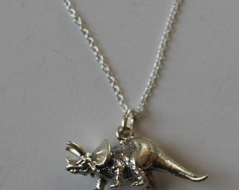 Sterling Silver 3D TRICERATOPS DINOSAUR Pendant  and Chain -  Prehistoric