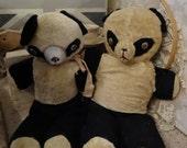 SALE Vintage Pair Shabby Panda Bears