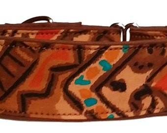 Earth tones with Orange and Turquoise Martingale Collar-