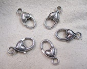 Lobster Clasp Large Antique Silver Tone Heart Lobster Claw Clasps 24mm x 14mm 5 Clasps F03392