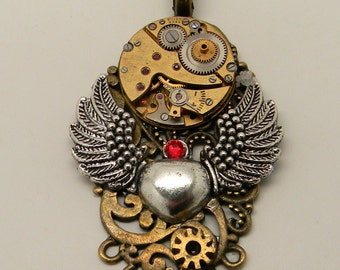 Steampunk jewelry. Steampunk angel wings necklace .