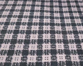 Square Button Plaid - Vintage Fabric - Cotton - Primitive - Folk - Christmas