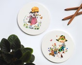 hyalyn 507 ceramic tiles decorative boy and girl garden design by gottschlich cute 70s pair trivets wall hanging home decor