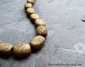 Vintage Bead-Vintage Lucite Bead-Textured-Rough Bead-Antique Gold Beads-Oval Beads-Tribal Bead-Organic Bead-Pebble Bead-20 Beads