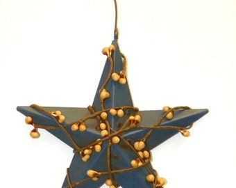 Blue 5 Inch Metal Star with Mustard/Gold Pip Berries