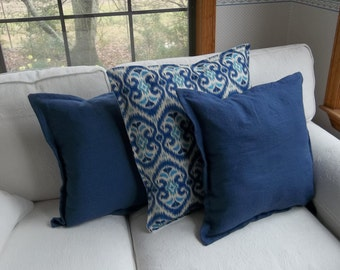 Linen Pillows Ikat Pillow Sold Separately or as Set Throw Linen Pillow Covers Decorative Pillows French Country Bedroom Pillows Custom Sizes