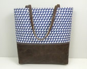 Blue Tote / Leather Bottom Bag / Beach Carryall / Printed Fabric Tote with Leather Handles
