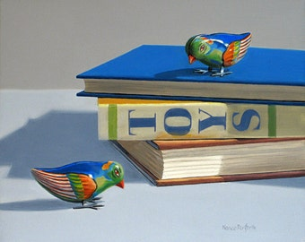 Blue Birds 8x10 original oil painting realistic still life by Nance Danforth