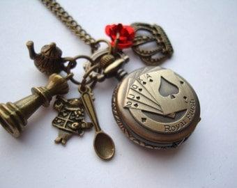 Alice in Wonderland Royal Flush Card Pocket Watch Necklace
