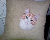 Pillow with embroidery - a pillow with a cat - embroidered cat - cat portrait on a pillow