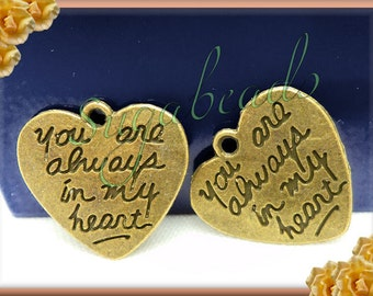 6 Always in my Heart Charms Antiqued Brass 21mm PB60