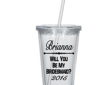 Custom Will You Be My Bridesmaid Maid of Honor DIY Decals, Personalized , Custom Wedding Tumblers, Cups NOT Included