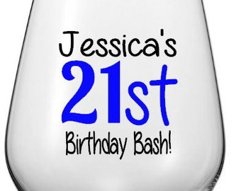21st Birthday Bash Wine Glass Decal, Custom 21st Birthday Tumbler Decal