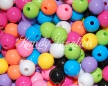 50 pc 10mm Bubblegum Round Assorted Colors BRIGHTS Beads Resin for gumball necklaces kandi rave raver kandy kid craft jewelry diy chunky fun