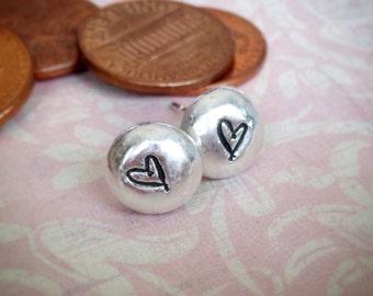 Fine Silver Little Heart Stud Post Earrings