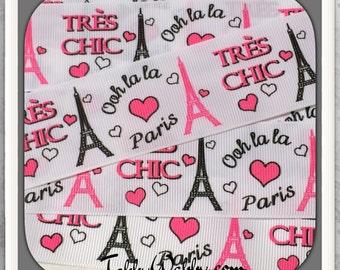 "Tre's Chic Paris MTMG  on white 1 1/2"" grosgrain ribbon 5 Yards TWRH"