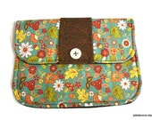 Clutch Purse Woodland Floral Blue and Brown Padded Tablet Cover