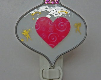 Pink Heart NLs 2 Choices - Pink Heart & Cupid  - Pink and Purple Heart - Flowers Heart - All Ready to Ship