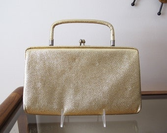 50s Gold Textured Rectangle Frame Purse Evening Bag