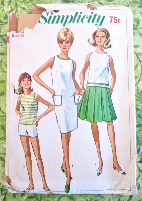 Simplicity 6543 Vintage 1960s Shift Dress Pattern with - photo#13