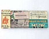 Vintage Magnet Set - Vintage Advertisements, Vintage Ephemera Magnet Set, Glass Magnets